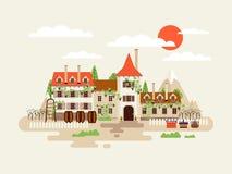 L'illustration de la façade d'établissement vinicole d'architecture avec des vignobles sur les montagnes de fond barrels le vin d Photo stock