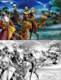 L'illustration de la famille sainte et de trois rois - page de coloration Photo libre de droits