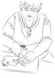 L'illustration de la femme au foyer prépare le déjeuner Images libres de droits