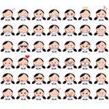 L'illustration de la fille mignonne asiatique fait face à montrer différentes émotions La joie, tristesse, colère, parler, drôle, illustration de vecteur