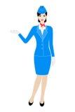 L'illustration de la jeune hôtesse s'est habillée dans l'uniforme bleu illustration de vecteur