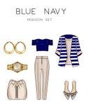 L'illustration de mode de trame a placé - coupez Art Set des vêtements et des accessoires de la femme Images libres de droits