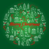 L'illustration de Noël avec la nouvelle année et le Noël objecte Carte de Noël faite dans le style peint à la main Photos libres de droits