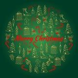 L'illustration de Noël avec la nouvelle année et le Noël objecte Carte de Noël faite dans le style peint à la main Photo stock
