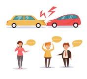 l'illustration de véhicule des accidents 3d a isolé le blanc rendu art sur le fond blanc Images libres de droits