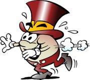 L'illustration de vecteur de bande dessinée d'une mascotte d'or heureuse d'oeufs là fonctionne Image libre de droits