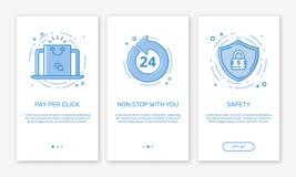 L'illustration de vecteur d'onboarding des affaires de concept d'écrans d'APP commencent la demande d'apps mobiles dans la ligne  illustration libre de droits