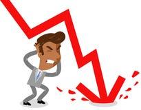 L'illustration de vecteur d'un homme d'affaires asiatique frustrant de bande dessinée comme flèche rouge énorme se brise dans le  illustration stock