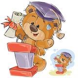 L'illustration de vecteur d'un ours de nounours brun gai dans le chapeau d'obtention du diplôme fait un discours à la cérémonie  illustration stock