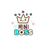 L'illustration de vecteur de la couronne jaune et le mini patron textotent avec l'emoji élégant de kawaii Cadeau pour le garçon Photo libre de droits