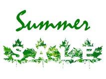 L'illustration de vecteur de la vente d'été avec l'érable part dans le style grunge Image libre de droits