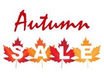 L'illustration de vecteur de la vente d'automne avec l'érable part Photographie stock libre de droits