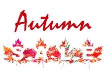 L'illustration de vecteur de la vente d'automne avec l'érable part dans le style grunge Photo libre de droits