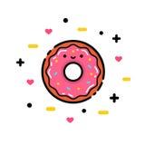 L'illustration de vecteur du beignet rose mignon de bande dessinée avec le coeur et le visage, peut être employée pour des invita Image libre de droits