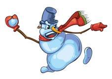 L'illustration de vecteur du bonhomme de neige mignon avec les jets rouges d'écharpe lancent des boules de neige illustration stock