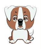 L'illustration de vecteur du chien mignon dans le style plat montre l'émotion triste Emoji pleurant Graphisme souriant Causerie,  illustration stock