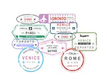 L'illustration de vecteur du passeport de visa de voyage international emboutit en composition en forme de voiture sur le fond bl illustration libre de droits