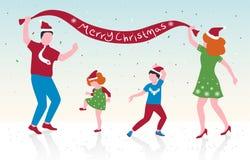 L'illustration de vecteur de la danse heureuse de famille, les parents et leurs enfants célèbrent Noël, conception plate illustration libre de droits
