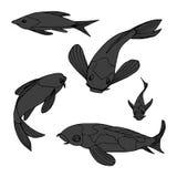 L'illustration de vecteur pêche des carpes Koi illustration stock