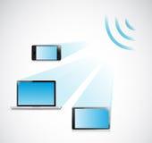 L'illustration de wifi d'ordinateur portable, de comprimé et de téléphone conçoivent Photo libre de droits