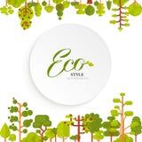 L'illustration des arbres verts et les buissons complètent le fond sur le fond blanc dans le style plat Image libre de droits