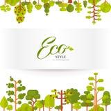 L'illustration des arbres verts et les buissons complètent le fond sur un fond blanc dans le style plat Image stock