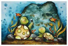 L'illustration des enfants avec des tortues illustration de vecteur