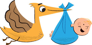 L'illustration des enfants de bébé et de cigogne Image libre de droits