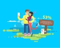 L'illustration des ménages mariés heureux des vacances, l'homme et la femme font le selfie Images libres de droits