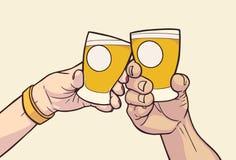 L'illustration des mains masculines et femelles soulevant des verres avec vide signe dedans des couleurs de vintage cheers illustration de vecteur