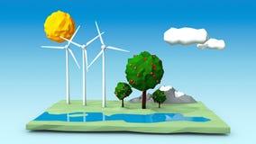 L'illustration des turbines de vent d'arbre sur une place verte a formé l'île avec des arbres, des montagnes et une rivière Image libre de droits