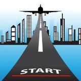 L'illustration du bâtiment architectural avec l'avion de vol et le mot commencent le concept Photo stock