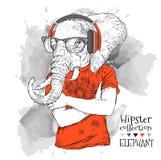 L'illustration du hippie d'éléphant s'est habillée dans le T-shirt Image stock