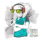L'illustration du hippie d'éléphant s'est habillée dans le T-shirt, pantalon et dans les verres et les écouteurs Illustration de  Images stock