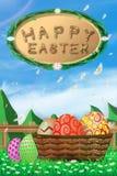 L'illustration du jour de Pâques avec un oeuf sur la fleur de floraison d'herbe verte et la barrière blanche de ciel bleu, avec l Photos stock