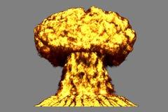 L'illustration du souffle 3D de l'explosion fortement détaillée énorme de champignon atomique avec des regards du feu et de fumée illustration libre de droits