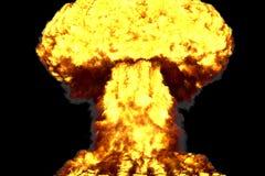 L'illustration du souffle 3D de la grande explosion détaillée même de champignon atomique avec des regards du feu et de fumée aim illustration libre de droits