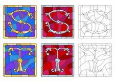 L'illustration en verre souillé avec l'ensemble de lettres de l'alphabet latin marque avec des lettres le ` du ` S et le ` du ` T illustration libre de droits