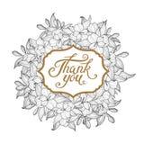 L'illustration florale blanche de vecteur de guirlande avec vous remercient lettrage Photographie stock