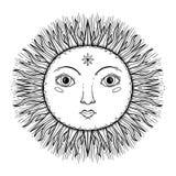 L'illustration graphique beau Sun de croquis font face avec des symboles tirés par la main mystiques et occultes Illustration de  illustration stock