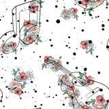 L'illustration graphique de modèle sans couture de vecteur des notes de musique de guitare, feuilles de fleurs s'embranchent encr illustration stock