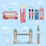 L'illustration graphique de vecteur d'infos de voyage de Londres du et des symboles, briges, grand-Ben, cabines téléphoniques, au illustration de vecteur