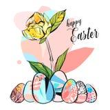 L'illustration heureuse créative de salutation de Pâques d'abrégé sur tiré par la main vecteur avec la brosse abstraite a peint l illustration de vecteur