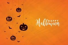L'illustration heureuse de bannière de Halloween avec les potirons faits face effrayants et le vol manie la batte sur le fond ora Illustration Libre de Droits