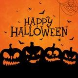 L'illustration heureuse de bannière de Halloween avec les potirons faits face effrayants et le vol manie la batte sur le fond ora Illustration Stock