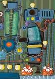 Le sujet d'étrangers - UFO - pour des enfants - jardin d'enfants - menu - écran - l'espace pour l'humeur heureuse et drôle des tex illustration libre de droits