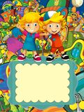Le groupe d'enfants préscolaires heureux - illustration colorée pour les enfants Image libre de droits