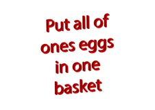 L'illustration, idiome a mis tous les ceux eggs dans un busket d'isolement Photos libres de droits