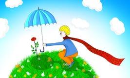 l'illustration le petit prince et à lui a monté Images stock