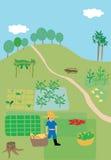 Écosystème de ferme et d'agriculteur Photographie stock libre de droits
